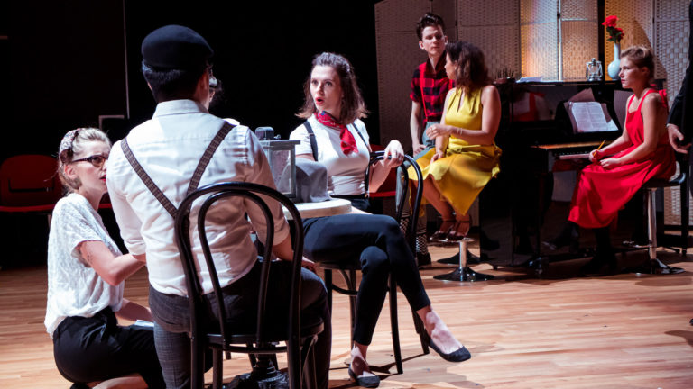 Shot in the Back: it was all an act original screenplay by Emilie Guillot & Bastien Guers, Director Emilie Guillot, HKTA Hong Kong Theatre Association with Miguel Urmeneta, Kathy Mak, Tara Barot - Photo by Lenny B. Conil