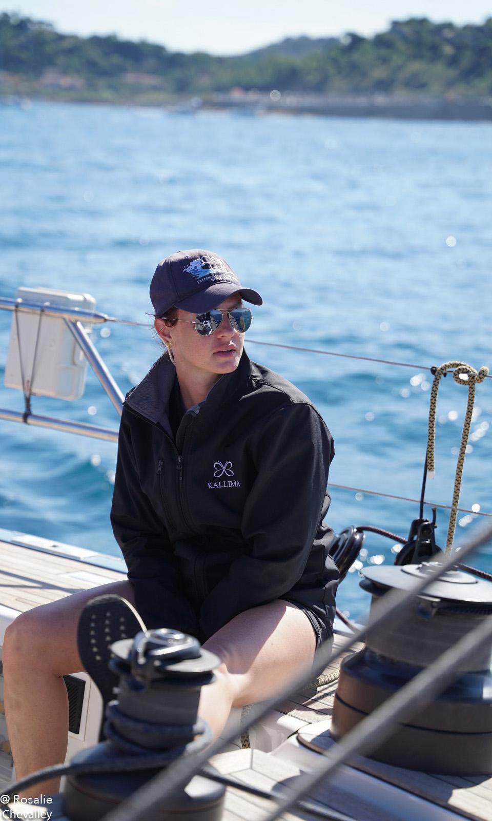 Tara Barot sailing crew on Kallima Swan 82 yacht charter during Les Voiles de Saint Tropez 2020 - Photo by Rosalie Chevalley photographer
